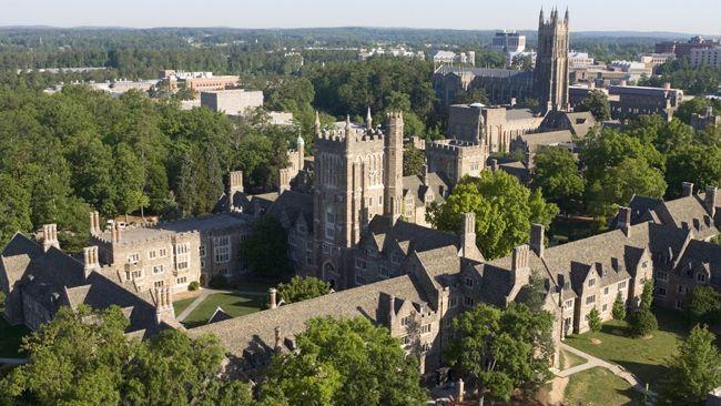 Aerial view of Duke University.