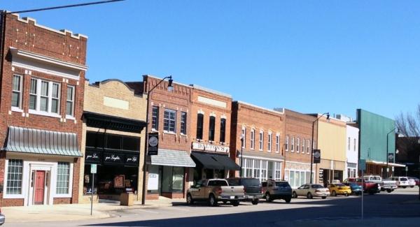 The main street in downtown Roxboro.