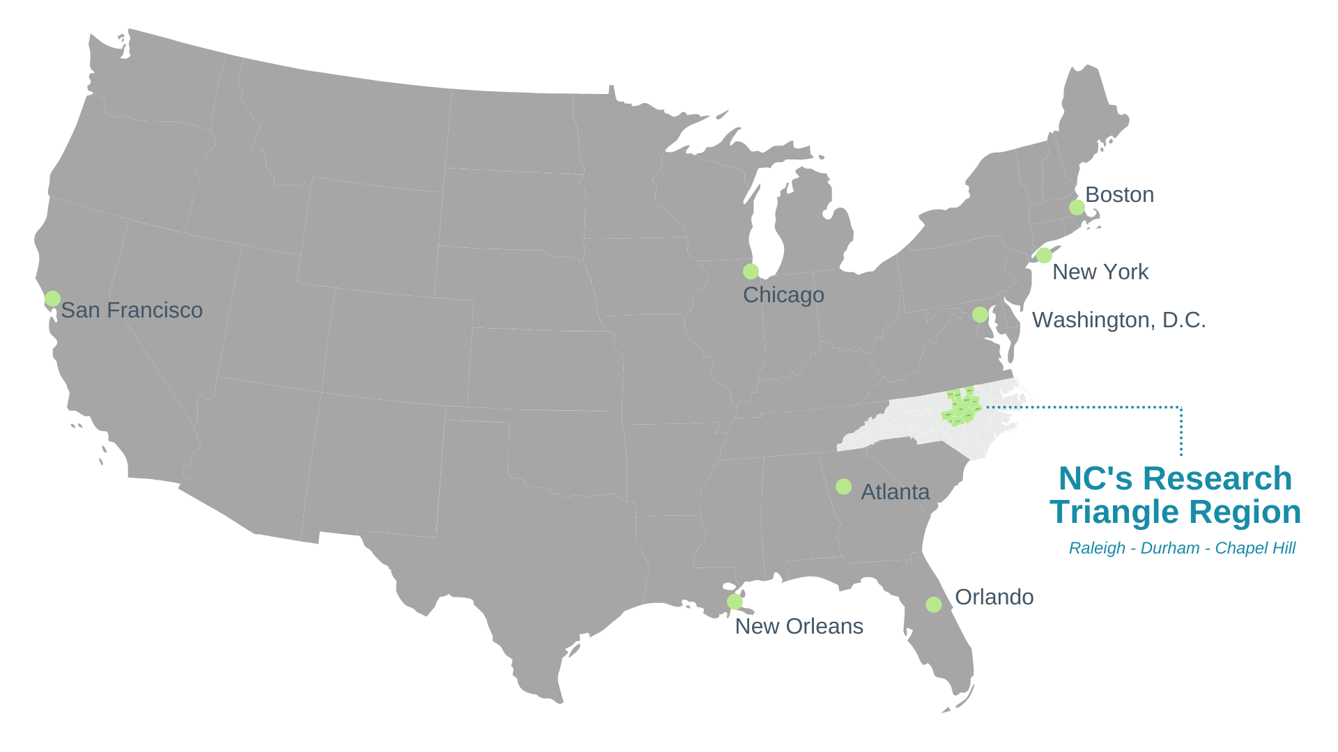 A map of the United States highlighting the location of NC's Research Triangle Region. The map highlights cities on the east coast and RTRP is located between Washington D.C. and Atlanta, Georgia.