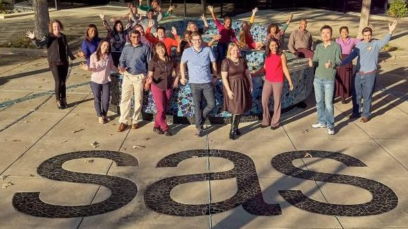 A large group of SAS employees posing for a picture on a sidewalk with the SAS logo on it.
