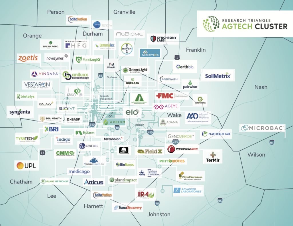 Map of agtech companies in the Research Triangle Region.