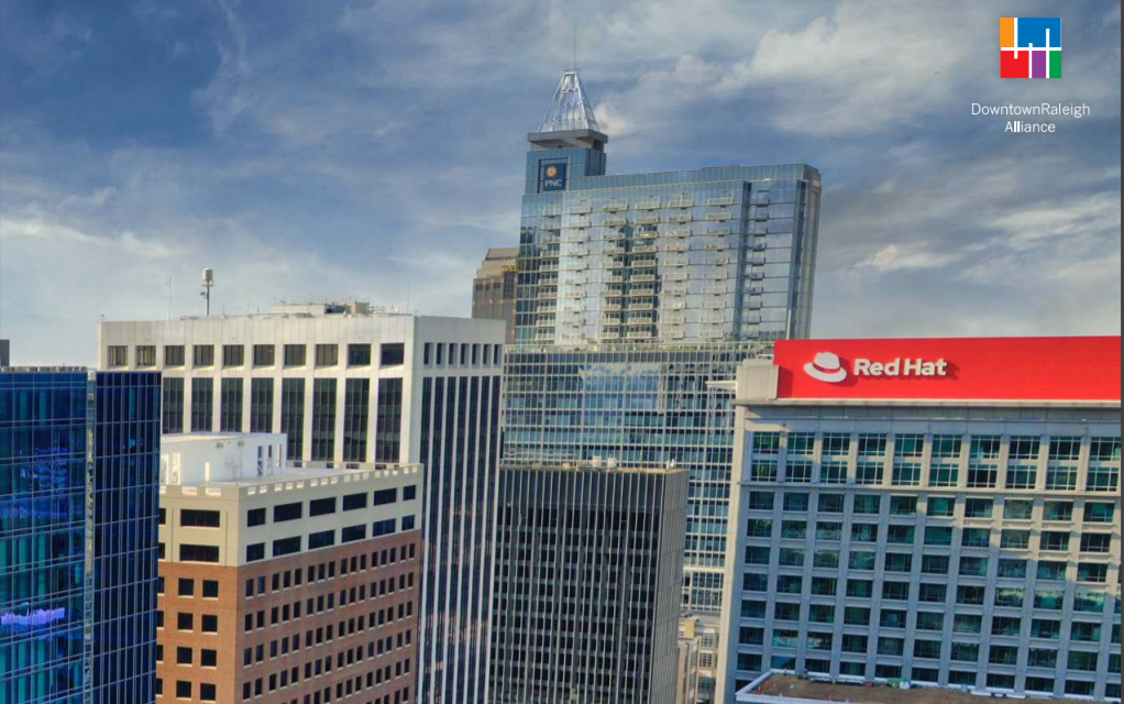 The main Redhat building towers among the downtown Raleigh skyline.