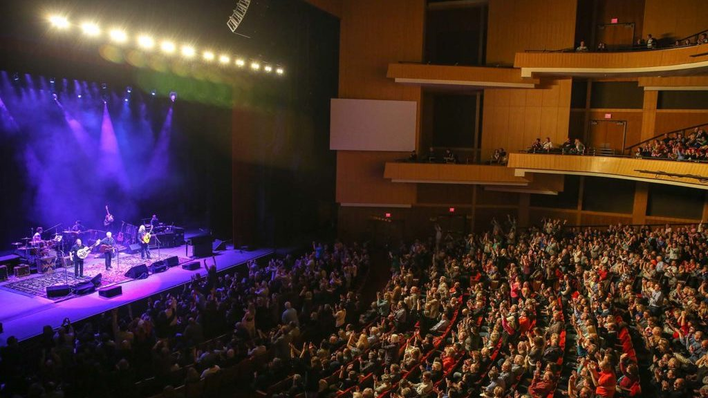 View of Durham Performing Arts Center from the balcony.