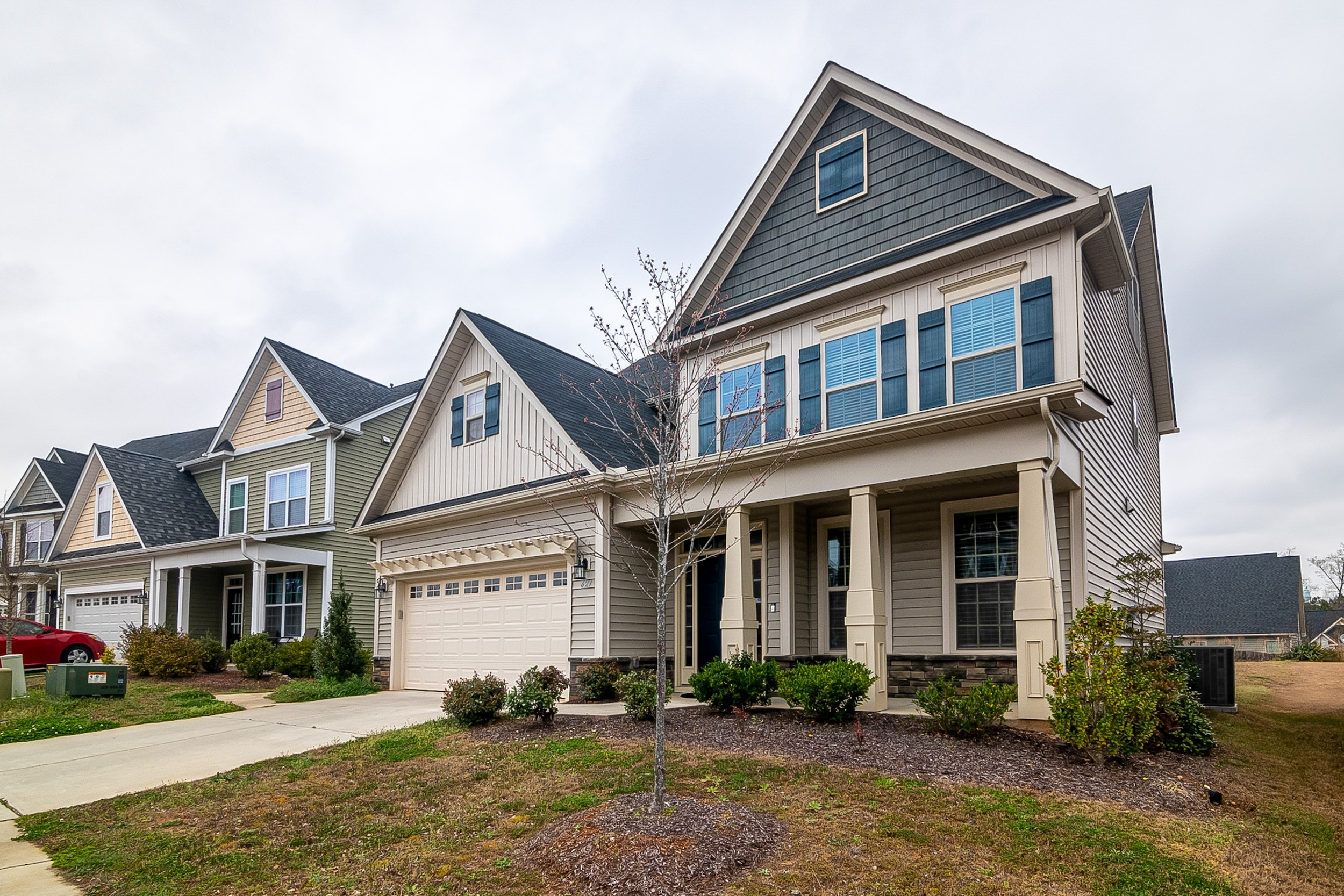 Modern, single family homes in a neighborhood.