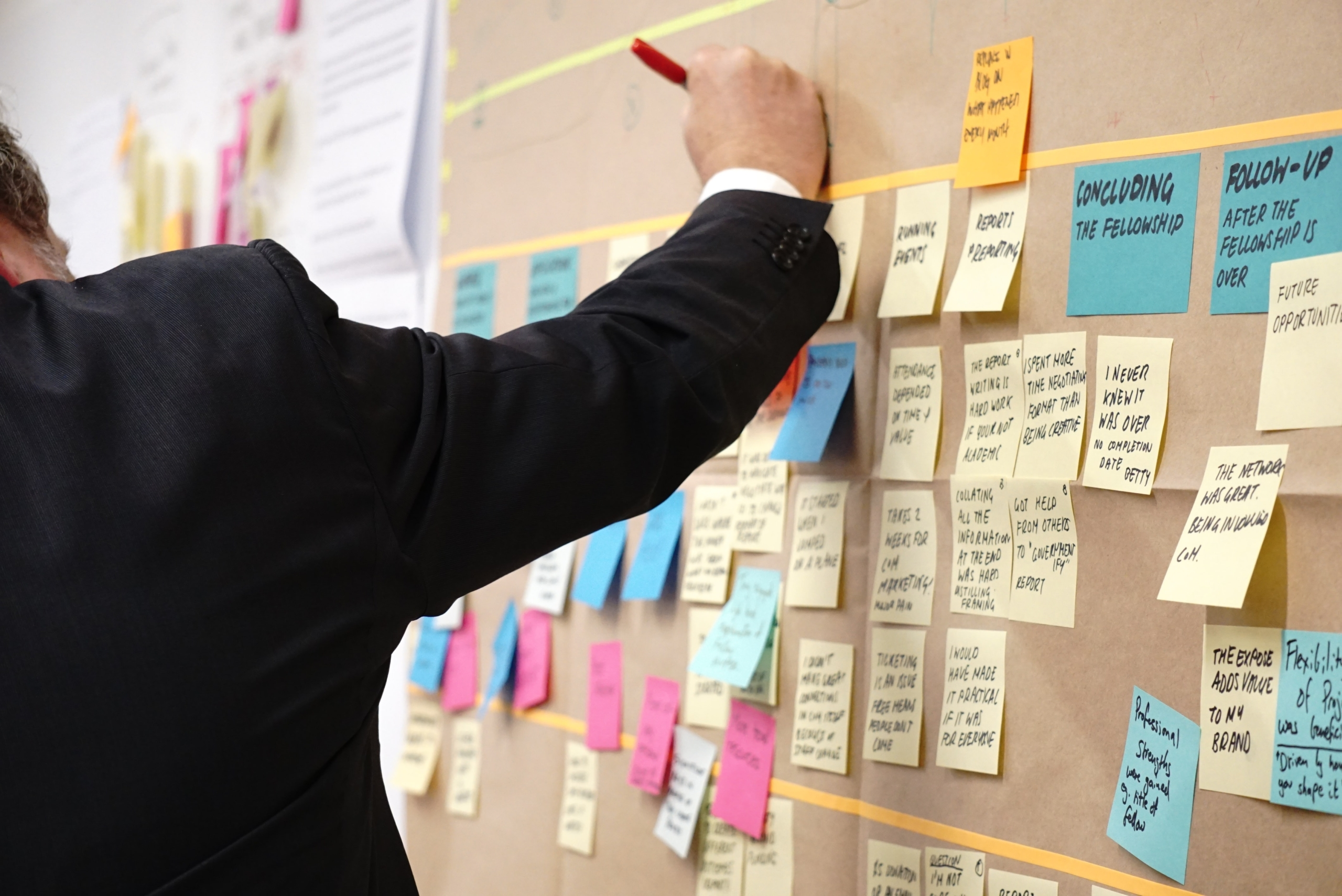 A man in a business suit writing on post it notes scattered across a board on the wall. The post it notes are scribbled on and are organized into groupings of different colors.