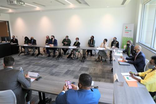 Roundtable discussion with state and local leaders during Durham Tech's announcement.