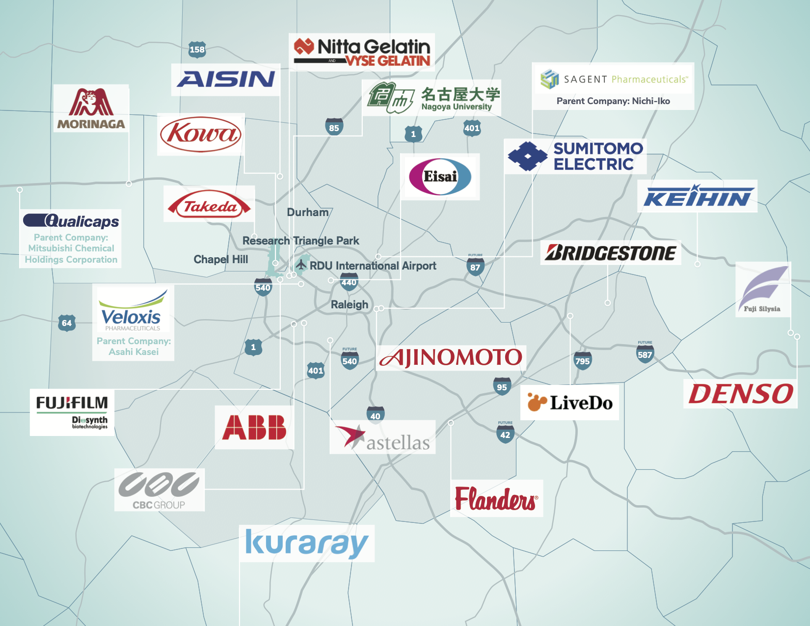 Map of Japanese companies in the Research Triangle Region.