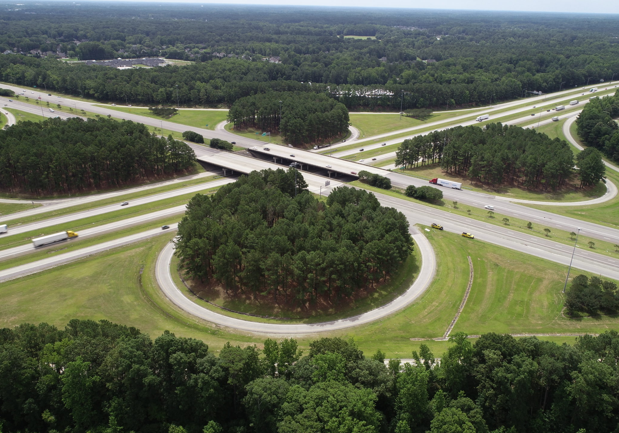 Aerial view of Interstate 95 and US Highway 64 interchange.