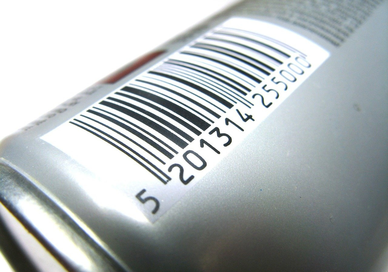 A closeup of a barcode on a product.