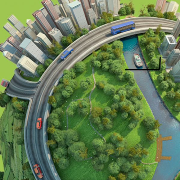 Graphical rendering of a sphere with trees, cities, and a waterway and highway running around it.