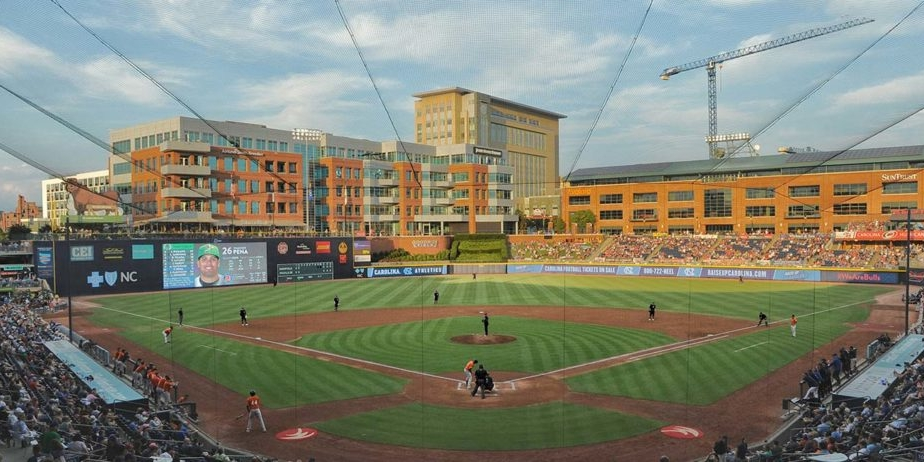 View of Durham Bulls stadium from the announcer box.