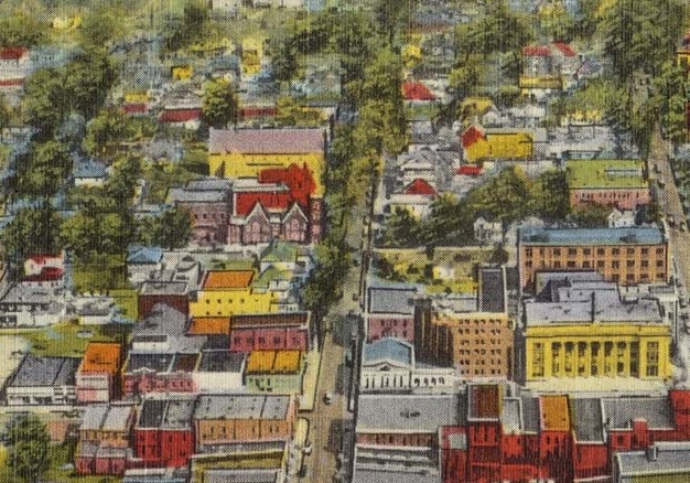 A historical illustration / map of downtown Wilson.